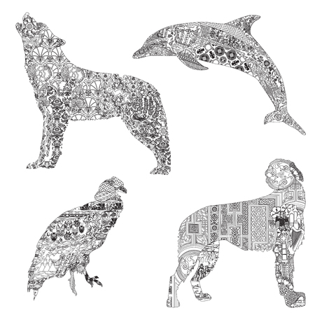 4 animals, symbolizing different countries. Wolf with Turkish patterns, dolphin with Greek, wolfhound with Irish and Condor with Ecuadorian patterns.