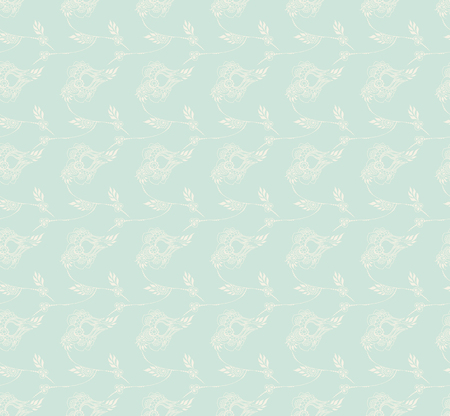 Light blue background with stylized decor.