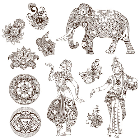 Elephant, dancers, mandalas, birds, flowers in the mehendi style. Set of ornate elements for design. Illustration