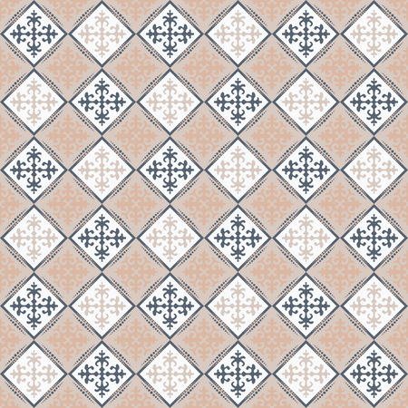 Seamless pattern in the form of a tile with ornament. Patterns in the style of Central Asia. Illustration