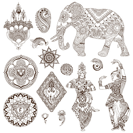 Elephant, dancers, mandalas, hamsa, flowers in the mehendi style. Set of ornate elements for design. Illustration