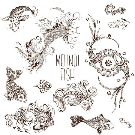 Fish drawn in the mehendi style. Symbol of abundance and fertility. A set of elements for design.