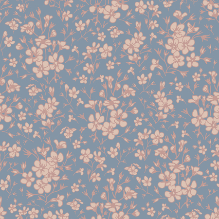 Wildflowers on a blue background. Seamless pattern. Illustration