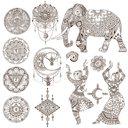 Dancers, elephant, mandalas, chakras, hamsa painted in the mehendi style. Set of elements on white background.