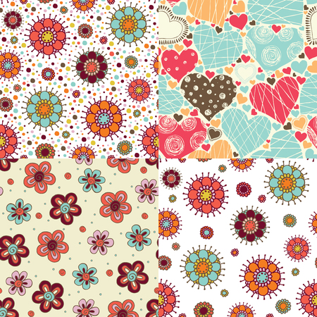 set of bright seamless patterns with flowers, polka dots, hearts