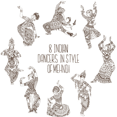 Set of Indian dance poses. 8 dancers in the style of mehendi.