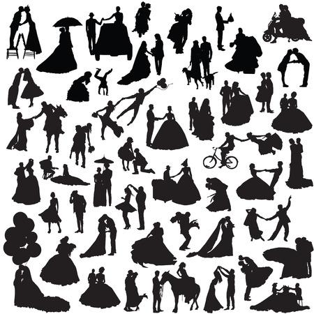 Wedding couples. Set of silhouettes. Illustration