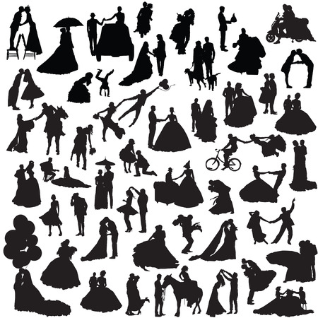 Wedding couples. Set of silhouettes. Illustration