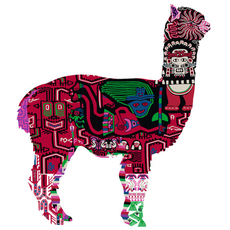 alpaca with Peruvian pattern 일러스트