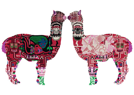 Alpaca with drawings in the Peruvian style. Two alpacas on a white background.