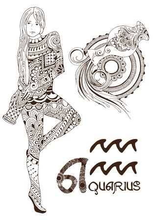 Stylized zodiac sign of Aquarius