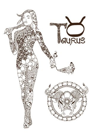 Taurus made in mehndi style. Zodiac sign. Illustration