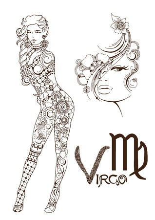 Virgo made in mehndi style. Zodiac sign.