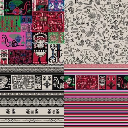 Rock paintings patterns. 일러스트