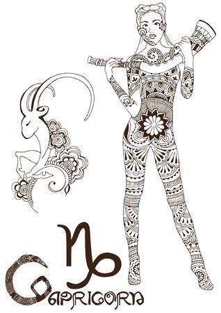 Capricorn made in mehndi style. Zodiac sign. Vector Illustration