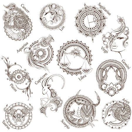 Signs of the Zodiac made in mehndi style.