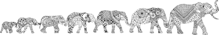7 elephants decorated in the mehendi style, arranged from smallest to largest Illustration