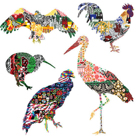 A set of birds symbolizing different countries, decorated with ethnic ornaments. Crane - Ukraine, rooster - France, kiwi - New Zealand, eagle - Germany, condor - Ecuador. 5 isolated birds on a white background.