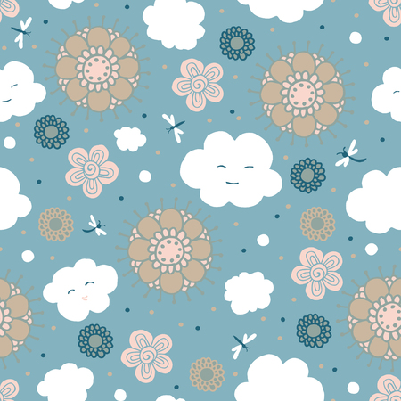 Sky, Clouds and flowers are stylized for childrens drawing. Seamless pattern.