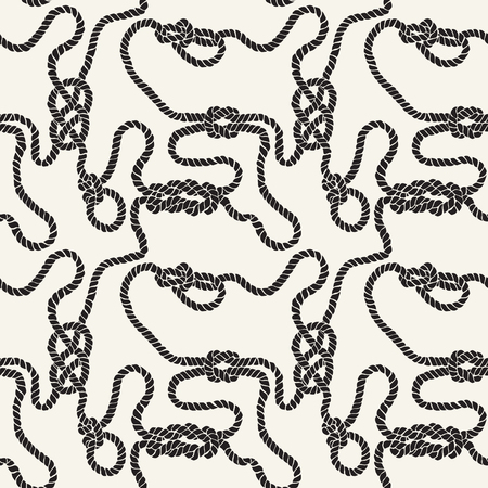 Ornate rope with sea knots. Seamless pattern.