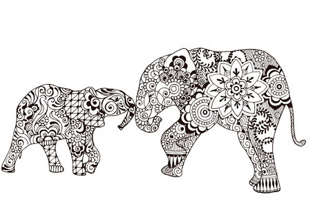 Two elephants decorated with Indian patterns. Ornate patterns in the style of mehndi. Ilustracja
