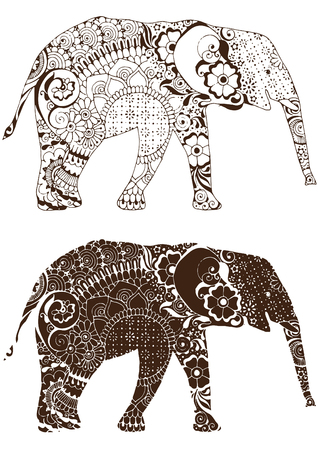 Silhouette of an elephant with oriental patterns.