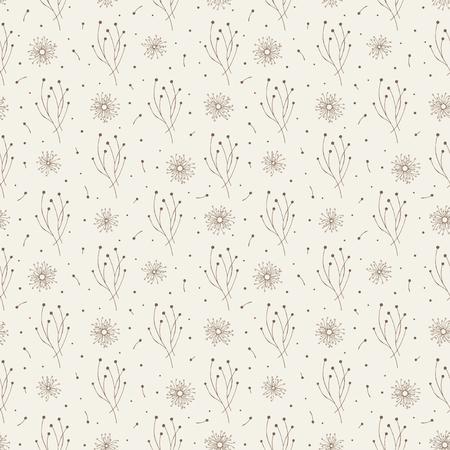 Stylized plants. Brown on beige. Seamless pattern.