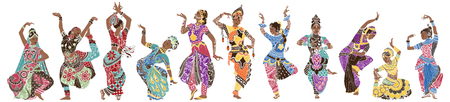 Dancing girls in bright oriental costumes Archivio Fotografico - 112529589