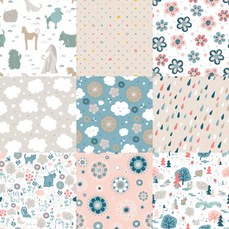 Funny and cute cloud, flowers, dogs. Different seamless patterns.
