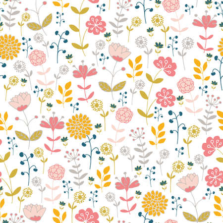 Seamless pattern with stylized flowers on a white background.