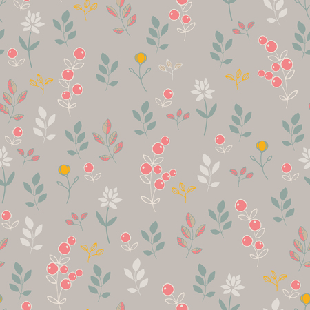 Seamless pattern with nature. Stylized berries and flowers.