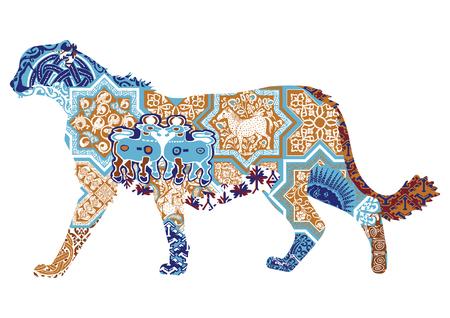 Silhouette of a cheetah symbolizing Iran. Asian Cheetah with Persian Patterns Иллюстрация
