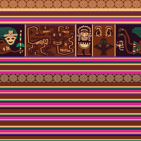 Patrón sin costuras al estilo de la alfombra peruana.