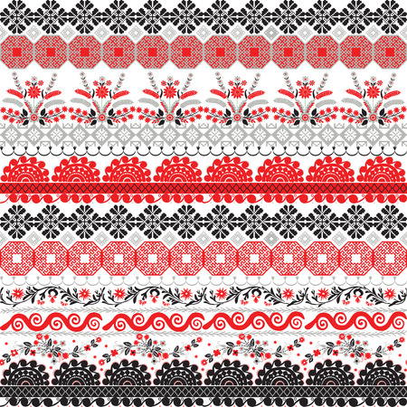 Seamless pattern with ornaments in the form of Slavic embroidery.