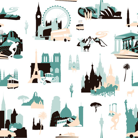 Euro-trip. Seamless pattern with miniatures of sights of European cities. Illustration