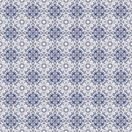 Pattern in the form of a Mediterranean blue tile. Seamless background. Ilustração