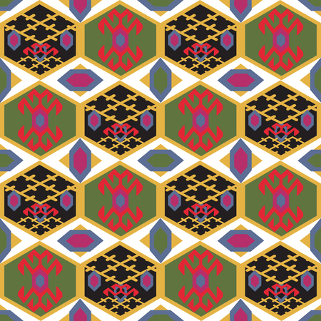 Seamless pattern with Middle Eastern ornament. Geometrical motifs of Tajik carpets. Illustration