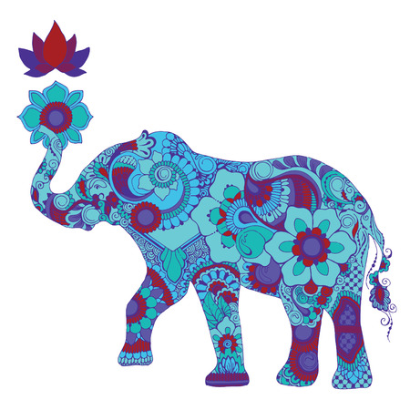 Elephant with lotus decorated with Indian mehndi