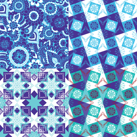 4 seamless pattern with oriental ornament.