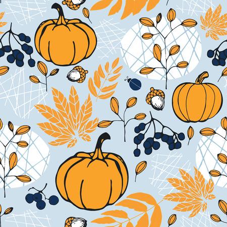 Autumn harvest. Pumpkins, leaves, berries. Seamless pattern.
