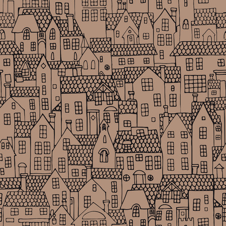 Many houses with tiled roofs. Seamless pattern
