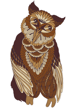 Owl on white background, decorated with different patterns.