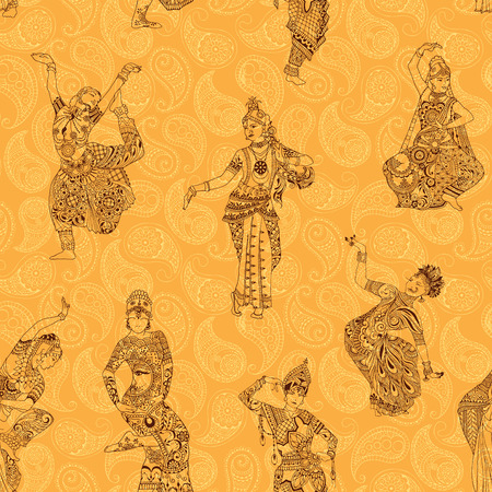 Seamless pattern. Oriental dancers on a bright background.