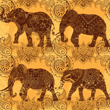 Elephants on a bright background. Indian patterns. Seamless pattern. Ilustrace