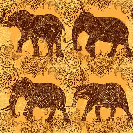 Elephants on a bright background. Indian patterns. Seamless pattern. Illustration