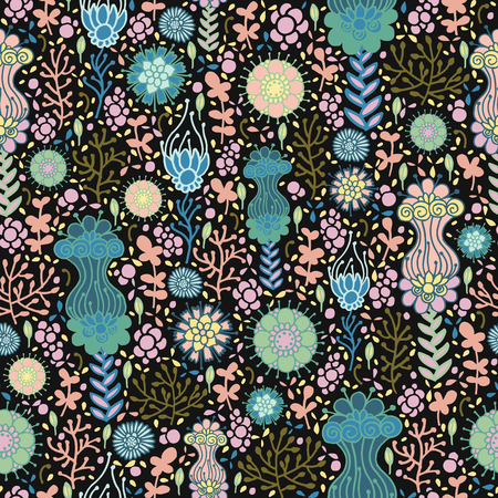 Fantasy flowers on a dark background. Seamless pattern.