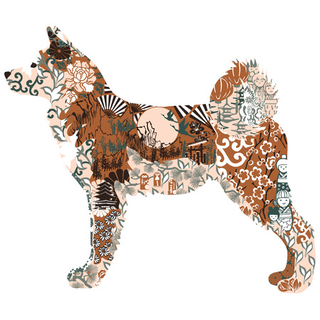 Akita dog decorated with Japanese patterns Illustration