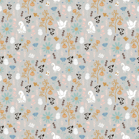 Flowers and birds with chicks. Seamless pattern.