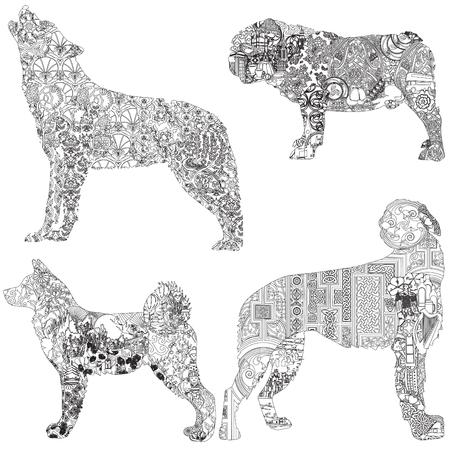 4 dogs decorated with ethnic pattern. Bulldog - English, wolfhound - Irish, akita - Japanese, wolf - Turkish.