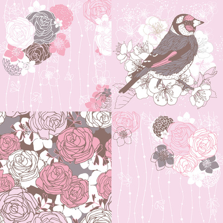3 greeting cards with roses and bird. Иллюстрация